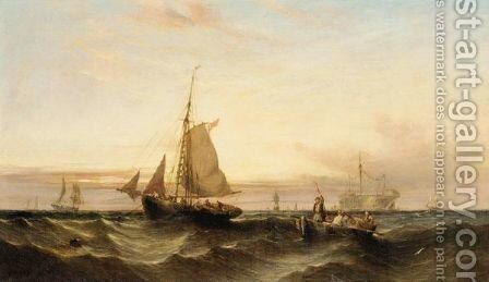 Raising The Catch At Sunset by (after) William Calcott Knell - Reproduction Oil Painting
