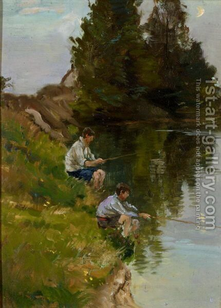 Fishing On The River Bank by Henry Mitton Wilson - Reproduction Oil Painting