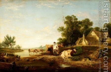 Milking Time by Charles Hunt - Reproduction Oil Painting