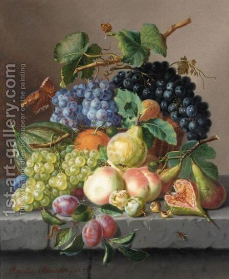 Grapes And Other Fruit On A Ledge by Amalie Kaercher - Reproduction Oil Painting