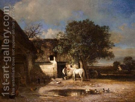 In The Farmyard by Giuseppe Palizzi - Reproduction Oil Painting