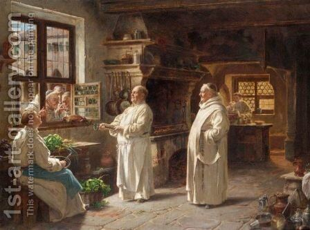 Preparing For Dinner by Adolf Humborg - Reproduction Oil Painting