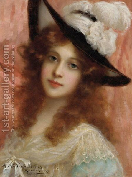 Portrait Of A Young Lady by Antonio Torres - Reproduction Oil Painting