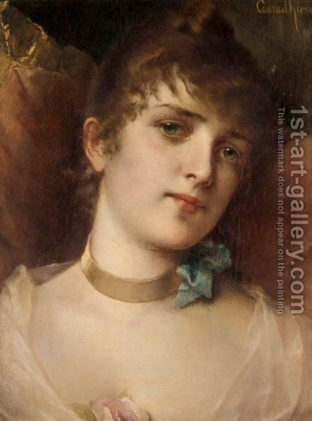 Portrait Of A Lady by Conrad Kiesel - Reproduction Oil Painting