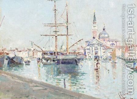 Ship At Harbour, Venice by Antonio Maria de Reyna - Reproduction Oil Painting