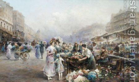 The Naschmarkt, Vienna by Emil Barbarini - Reproduction Oil Painting