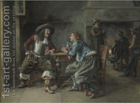 Cavaliers In A Tavern by Jean Charles Meissonier - Reproduction Oil Painting