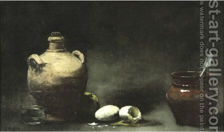 Still Life With Jugs And Eggs by Theodule Augustine Ribot - Reproduction Oil Painting