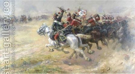 The Charge Of The Hussars by Henri Georges Jacques Chartier - Reproduction Oil Painting