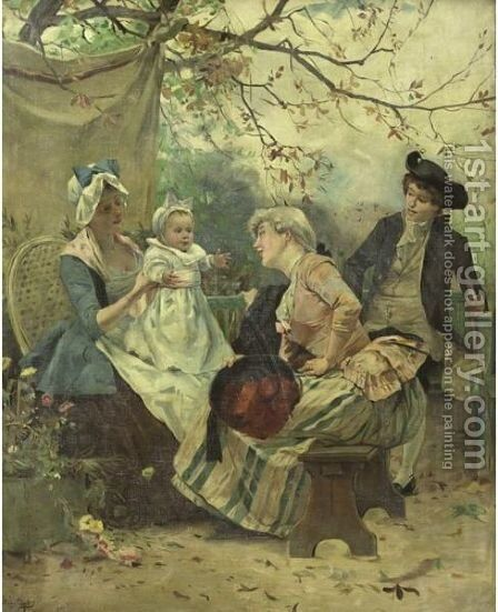 Garden Party by Auguste Emile Pinchart - Reproduction Oil Painting