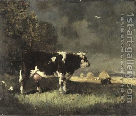 Cattle At Pasture by Constant Troyon - Reproduction Oil Painting