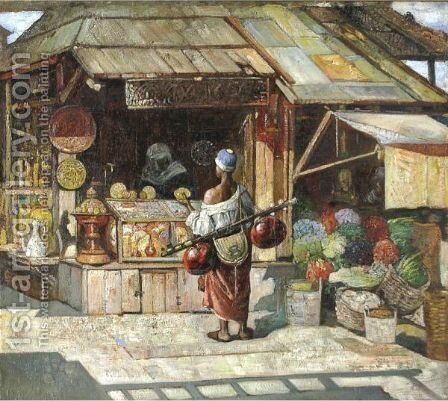 An Arab Marketplace by Gyula Tornai - Reproduction Oil Painting