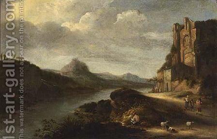 An Extensive Italianate River Landscape With Figures Resting Near Ruins by Claes Molenaar (see Molenaer) - Reproduction Oil Painting