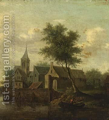 A Village On The Banks Of A River With Figures by Dutch School - Reproduction Oil Painting