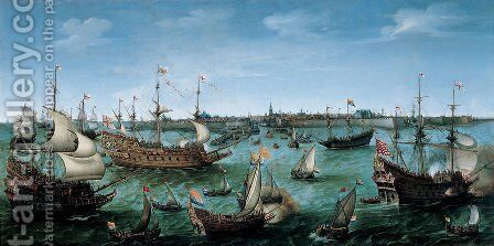 The Arrival at Vlissingen of the Elector Palatinate Frederick V,  c. 1632 by Hendrick Cornelisz. Vroom - Reproduction Oil Painting