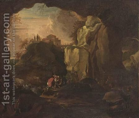 Brigands Attacking Horsemen In A Mountainous Landscape by (after) Michiel Carree - Reproduction Oil Painting