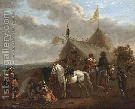 An Army Encampment With Soldiers Near A Fire, Horses, A Beggar, Travellers, And A Family Outside Tents by (after) Philips Wouwerman - Reproduction Oil Painting