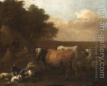 A Landscape With Shepherds Tending Their Herd by Albert-Jansz. Klomp - Reproduction Oil Painting