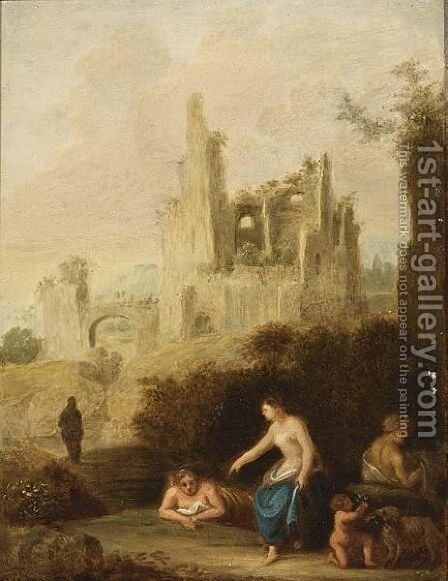An Allegorical Ruin Landscape by (after) Cornelis Van Poelenburch - Reproduction Oil Painting