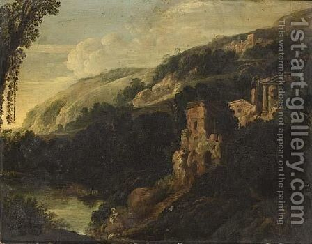 An Italianate Mountainous Landscape With A Washerwoman In The Foregroud Near A Stream by (after) Bartholomeus Breenbergh - Reproduction Oil Painting