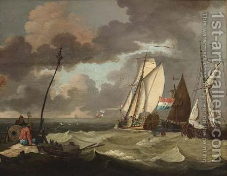 The States Yacht And Other Sailing Vessels In A Stiff Breeze by (after) Ludolf Backhuysen - Reproduction Oil Painting