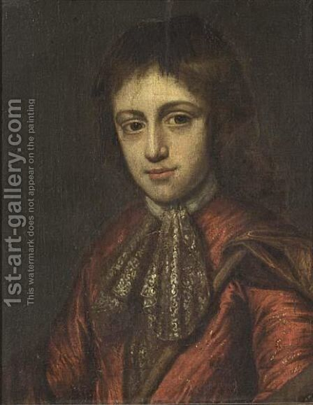 A Portrait Of A Boy, Bust Length, Wearing A Red Costume With A White Chemise And Brown Velvet Cloak by (after) Michiel Van Musscher - Reproduction Oil Painting