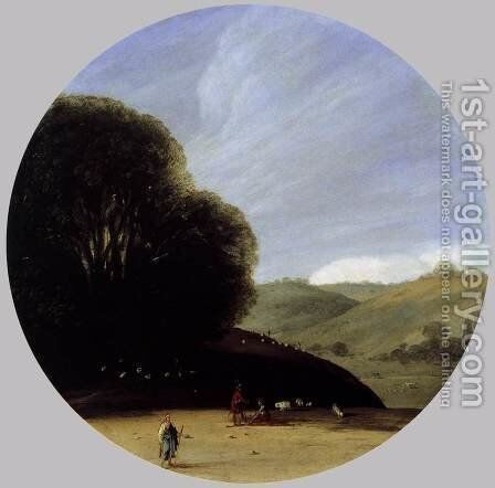 Pastoral Landscape c. 1616 by Goffredo Wals - Reproduction Oil Painting