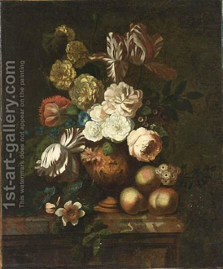 A Still Life With Flowers, Peaches And Grapes Upon A Marble Pedestal by (after) Huysum, Jan van - Reproduction Oil Painting