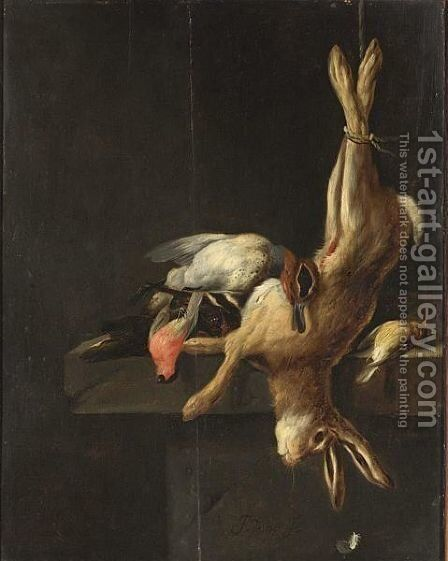 A Hunting Still Life With Game And Poultry On A Stone Ledge by Jan Vonck - Reproduction Oil Painting