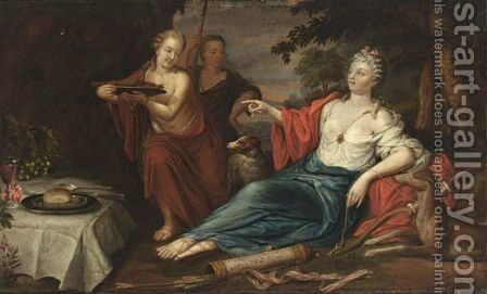 Diana With Her Servants Resting by (after) Mattys Terwesten - Reproduction Oil Painting