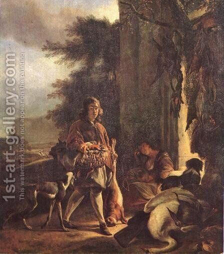 After the Hunt 1665 by Jan Weenix - Reproduction Oil Painting