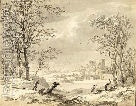 A Winter Landscape With Woodcutters by Dutch School - Reproduction Oil Painting