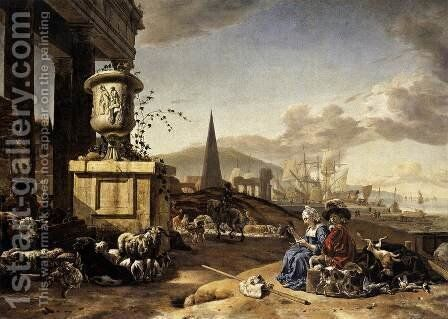 An Italian Seaport c. 1666 by Jan Weenix - Reproduction Oil Painting