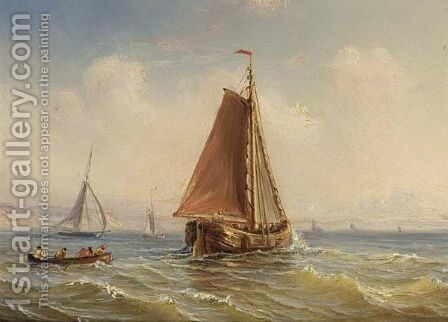 Sailing Vessels And A Rowing Boat Offshore by Herminie Gudin - Reproduction Oil Painting