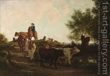A Herd Of Cows And Their Drover In A Landscape by Jan Vrolijk - Reproduction Oil Painting