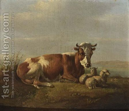 Cattle In A Landscape by Albertus Verhoesen - Reproduction Oil Painting
