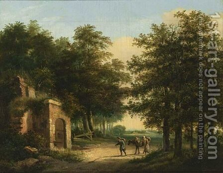 Travellers In A Wooded Landscape Arriving At A Ruin by Henricus Franciscus Wiertz - Reproduction Oil Painting