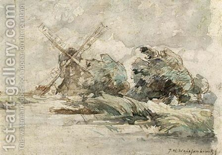 Windmill In A Windy Polder Landscape by Jan Hendrik Weissenbruch - Reproduction Oil Painting