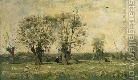 Landscape With Willow Trees by Antoine Chintreuil - Reproduction Oil Painting
