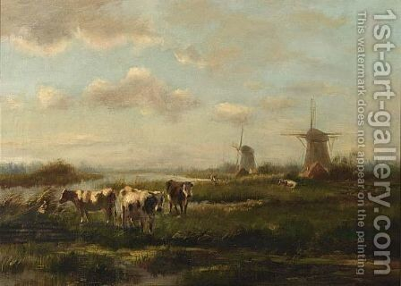 Cows Grazing In A Meadow by Cornelis Sr Westerbeek - Reproduction Oil Painting