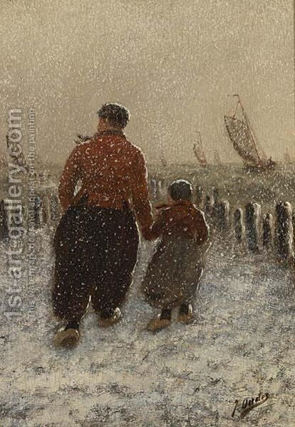 'Volendammers' Walking In The Snow by Jacob Oudes - Reproduction Oil Painting