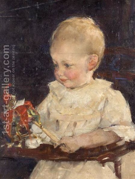 Toddler With Rattle by Elizabeth Stanhope Forbes - Reproduction Oil Painting