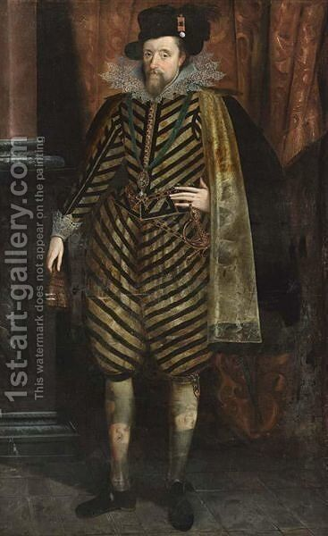 James I, King Of England, VI Of Scotland (1566-1625), Standing Full Length, Wearing A Black And White Striped Suit With A Silk Lined Black Cape, Lace Collar And Cuffs And A Hat With A Feather, Wearing The Order Of St George by (after) John De Critz - Reproduction Oil Painting