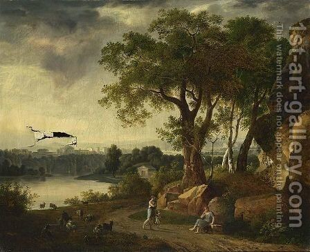 A Pastoral Landscape With A Shepherdess Guarding Her Sheep by Johann Melchior Roos - Reproduction Oil Painting