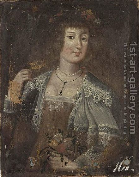 A Portrait Of A Lady As Flora, Half Length, Wearing A White Lace Collar And Flowers by (after) Wolfgang Heimbach - Reproduction Oil Painting