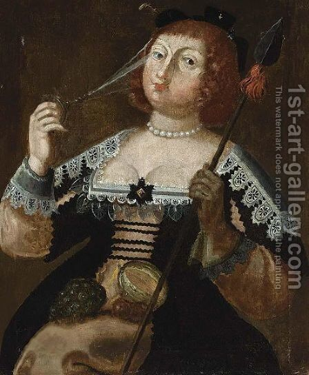 An Elegantly Dressed Lady Holding A Glass And A Spear by (after) Wolfgang Heimbach - Reproduction Oil Painting