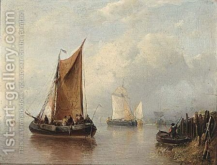 Sailing Vessels Offshore by Antonie Waldorp - Reproduction Oil Painting