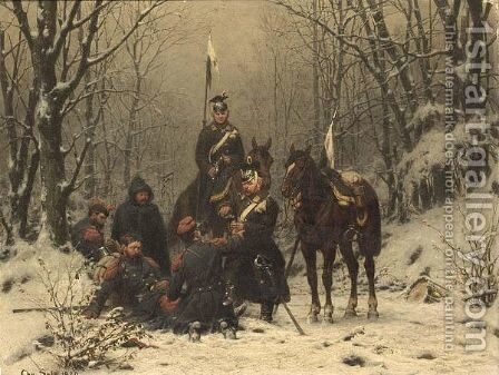 Prussian Soldiers Resting In A Winter Landscape. by Christian Sell - Reproduction Oil Painting