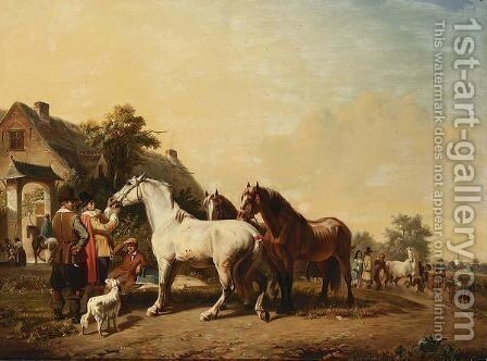 The Inspection At The Horse Fair. by Edmond Jean Baptiste Tschaggeny - Reproduction Oil Painting