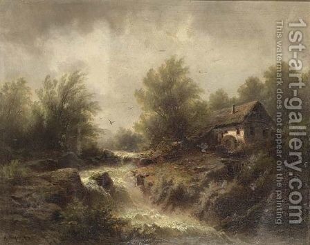 A Watermill In A Mountainous Landscape. by Albert Rieger - Reproduction Oil Painting